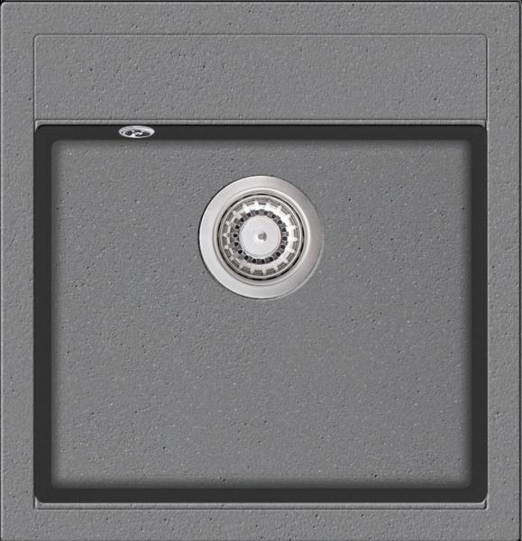 Granitspüle W490, ligth gray mit Drehexcentergarnitur, Siebkorb in chrom