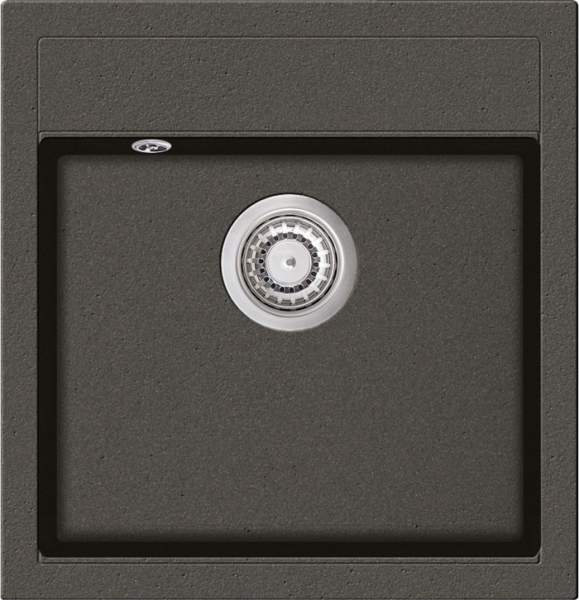 Granitspüle W490, gray mit Drehexcentergarnitur, Siebkorb in chrom