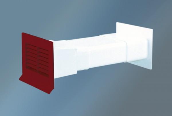 Mauerkasten mit Flachanschluss Ziegelrot und Rückstauklappe-Copy