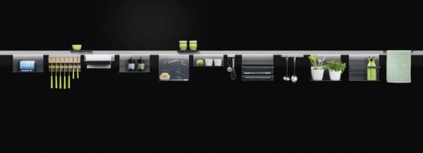 Hakenleiste (2Haken) Linero MosaiQ, schwarz B85 x T45 x H40 graphitschwarz
