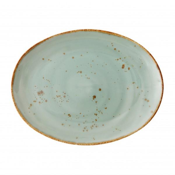 """TC Erthe Celadon Flat Oval Platter 15.25x11.75"""" (38.5x29.5cm"""