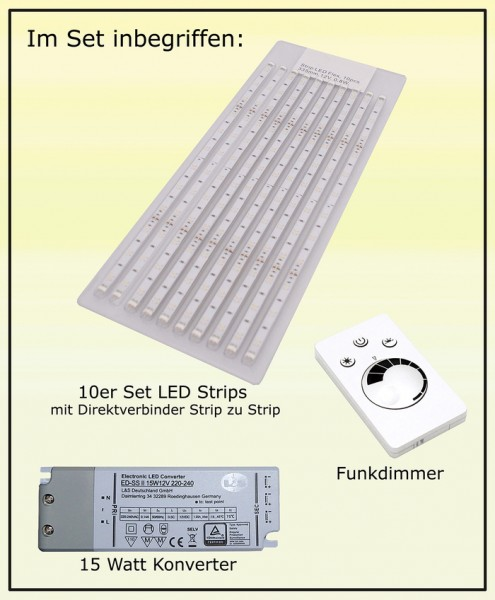 LED Streifen, NW, Kon 15W, Empfänger, Funkdimmer 12V, 0,8W, 335mm, 10er Pack, Flex