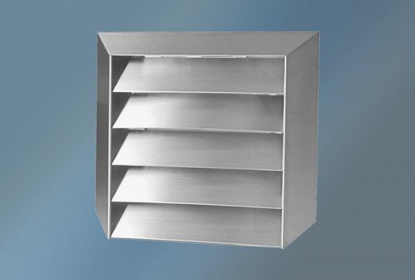 Lüftungsgitter Edelstahl Durchmesser 125 mm mit Rundanschluss, Außenmaß 200 x 200