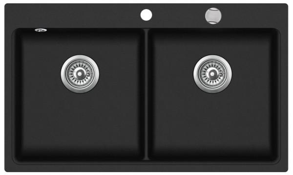 Granitspüle mit Doppelbecken W DB860 , black incl. Drehexcentergarnitur und Siebkorb in chrom