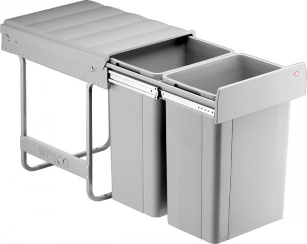 Big-Bio-Double Einbau Abfallsammler Mülleimer Abfalleimer 40 DT 2x26 L alugrau