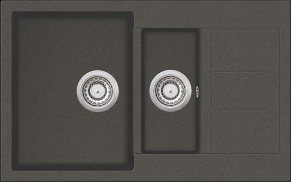 Granitspüle W 800, gray incl. Drehexcentergarnitur und Siebkorb in chrom