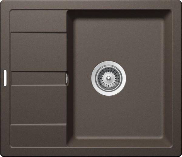 Granitspüle S 580, brown mit Excentergarnitur und Siebkorbventil