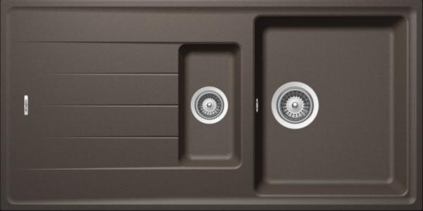 Granitspüle S 1000, brown mit Excentergarnitur und Siebkorbventil