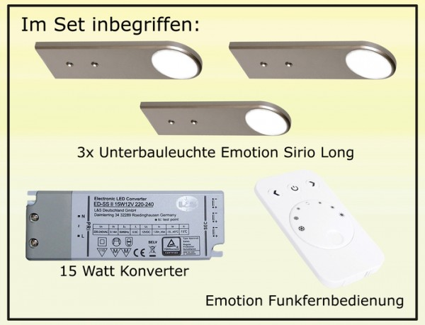LED-LEUCHTE SIRIO, 3er Set, NW 12 V, inkl. Konverter und Fernbedienung