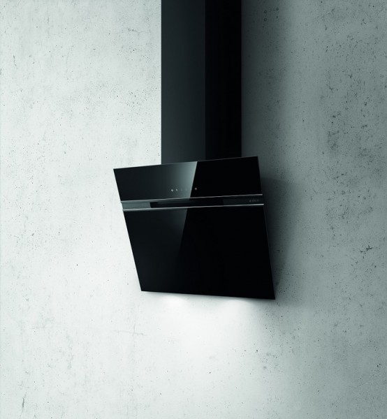 Kopffreihaube 90 cm breit, Schwarzes Glas incl. Aluminiumfilter
