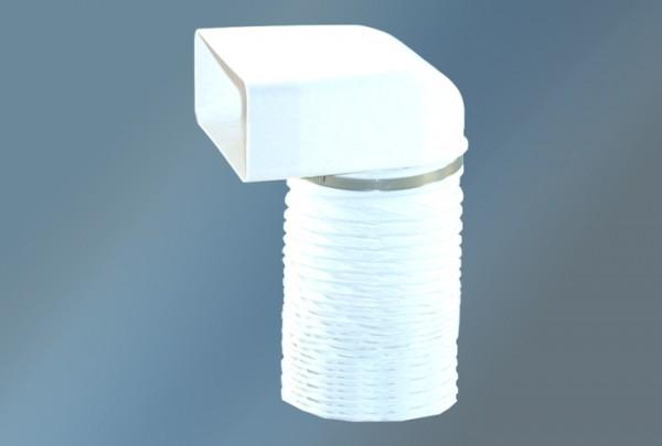 Umlenkstück mit Flexschlauch 500 mm Ø 150 mm, weiß