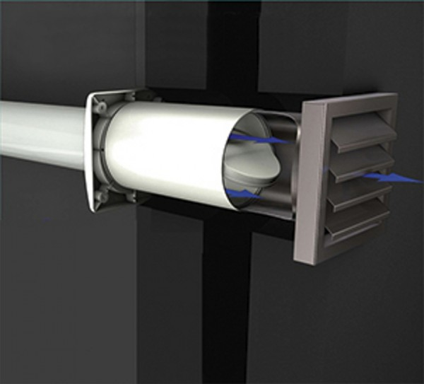 Aeroboy Energiesparmauerkasten Durchmesser 125 mm, Außengitter Edelstahl