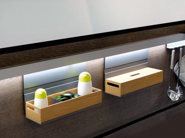 Ablagebox mit Grifflöchern,348x105x70mm, Eiche Hell