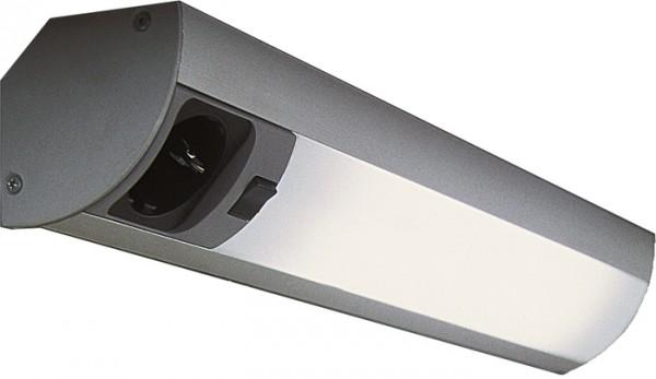Corner Einzelleuchten 900 mm Edelstahl 13 Watt, mit Schalter und Steckdose