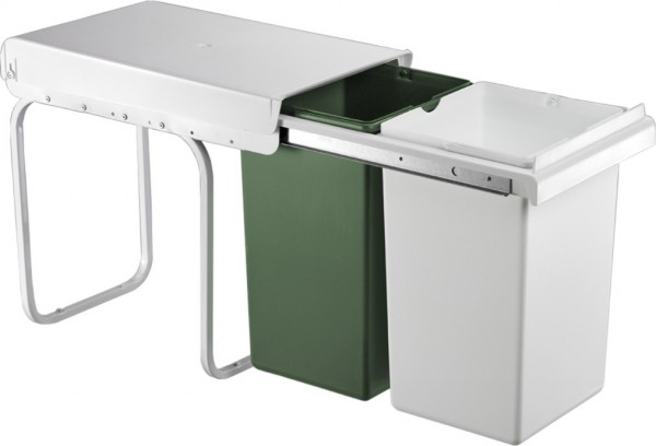 Einbau-Abfallsammler WESCO Double Boy grün weiß, 30 Liter (2x15 ...