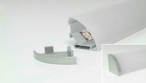 LED Leuchteprofil Mini Corner 26x26 mm Aufbau Alu EV1 incl.Abd. opal L:2000 mm