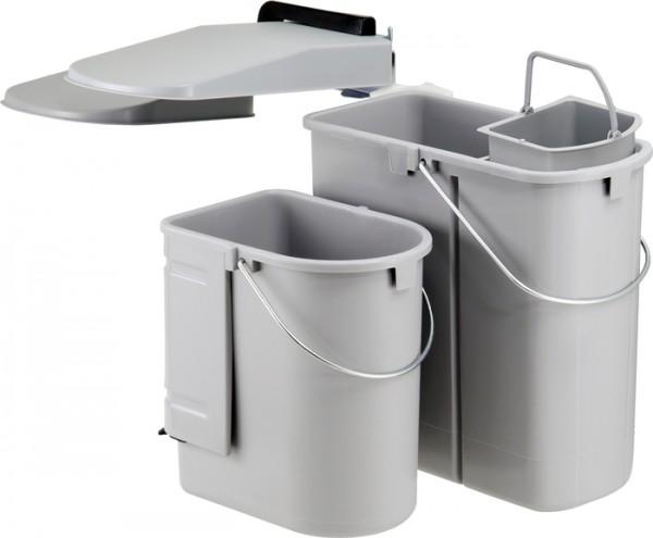 Ökontainer Junior für Schwenktür - mit 5 L Bioeinsatz, grau Abfalleimer Mülleimer