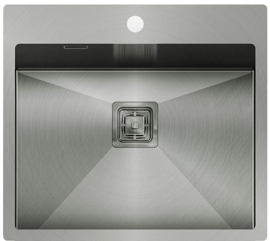 Edelstahl- Einbauspüle 550x510x200 in silber-grau