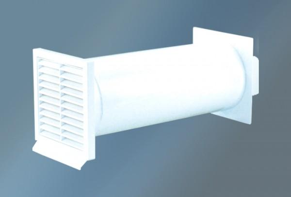 Mauerkasten rund, Rechteckanschluss und Rückstauklappe, Ø 125 mm, weiß