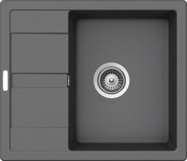 Granitspüle S 580, ligth gray mit Excentergarnitur und Siebkorbventil