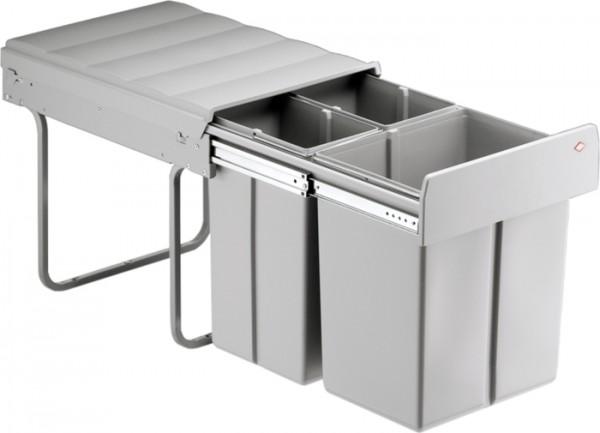 Bio-Trio-Maxi Einbau Abfallsammler Mülleimer Abfalleimer 40DT 20+2x10 L alugrau