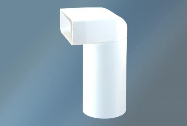 Umlenkstück mit Rundrohr l=700 mm Ø 125 mm, weiß
