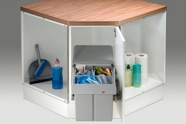 Universal-Fahrschlitten Rollwagen-System weiß für Einbau Abfallsammler Mülleimer