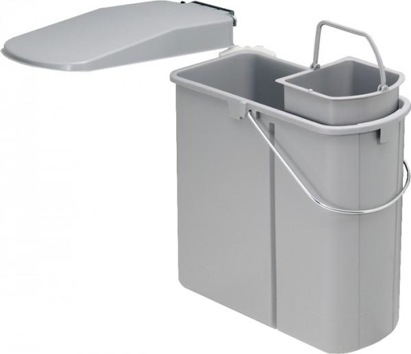 Einbau-Abfallsammler für Schranktür 19 L mit 5 L Bioeinsatz, grau Abfalleimer Mülleimer