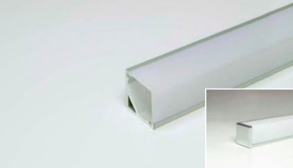 LED Leuchtenprofil Quattro Mini 16x16 mm Aufbau Alu EV1 inc.Abdeck.opal