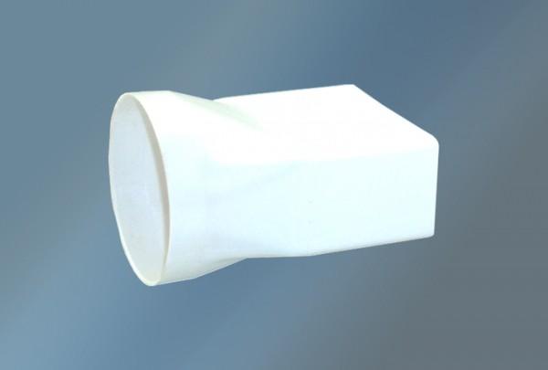 Übergangsstück von rund auf eckig Ø 125 mm, weiß