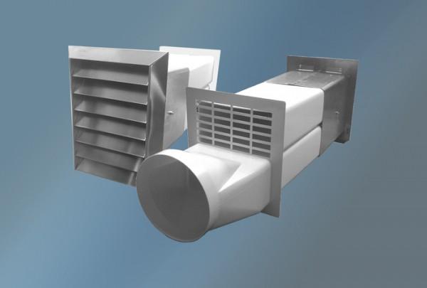 Ab-und Zuluftmauerkasten,Edelstahlgitter,Rundanschluss, Durchmesser 150 mm