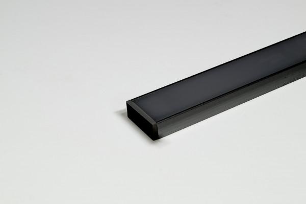 LED Leuchtenprofil Paris 17,5x7 Einbau Alu schwarz L:3000 mm