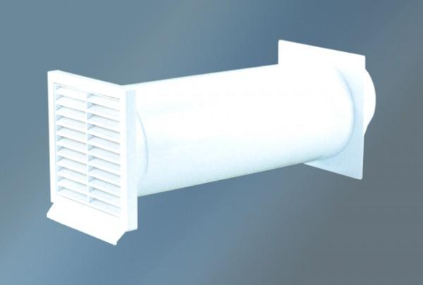 Mauerkasten rund mit Rückstauklappe Ø 125 mm, Rundanschluss, weiß