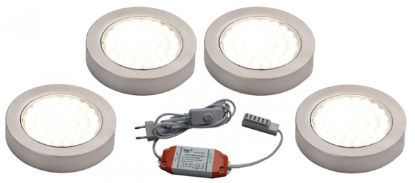 LED ARI- Aufbaustrahlerset 4er mit Konverter, 2m Zuleitung, NW