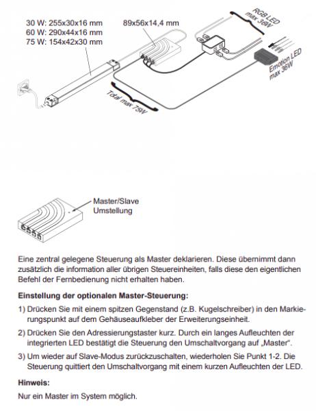LED RGB Steuerung Bielefeld 12 V m. Konv. 16 mm o. FB 60 W 4-fach Vert.