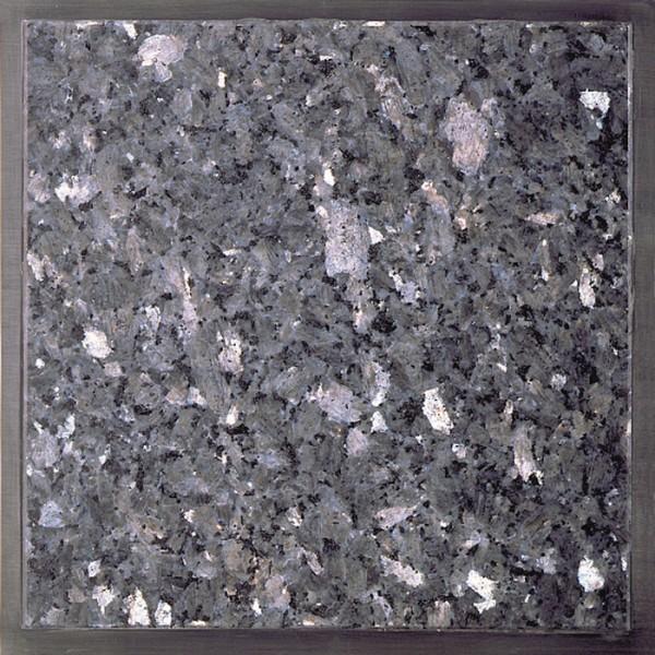 Granitfeld mit Edelstahlrahmen 250x250mm. Labrador Blue Pearl