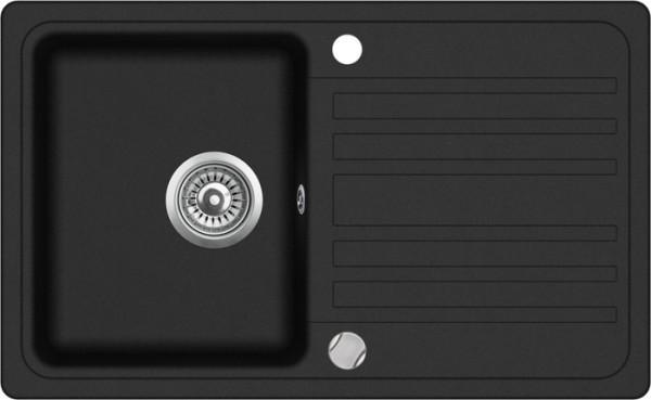 Einbauspüle W760, schwarz mit Abtropffläche inkl. Exenter