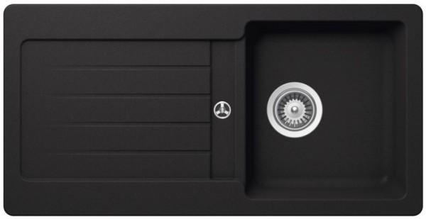 Granitspüle S-VEL860, black mit Excentergarnitur und Siebkorbventil
