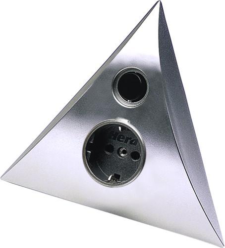 Steckdosen-Pyramiden-Element für Eckeinbau, Chrom matt