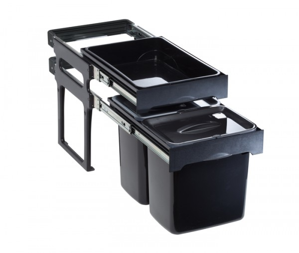Abfallsammler schwarz mit zusätzl. Ablagefläche 2x16lt