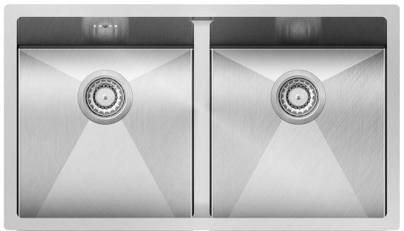 Edelstahl- Unterbauspüle 760x450 Doppelbeckenspüle