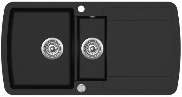 Einbauspüle W1000, schwarz mit Abtropffläche inkl. Exenter