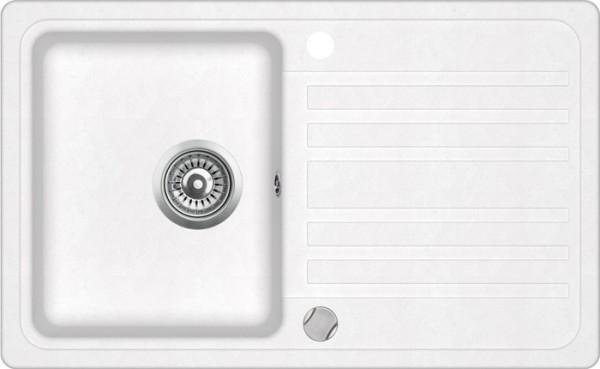 Einbauspüle W760, weiß mit Abtropffläche inkl. Exenter