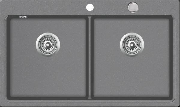 Granitspüle mit Doppelbecken W DB860 , ligth gray incl. Drehexcentergarnitur und Siebkorb in chrom