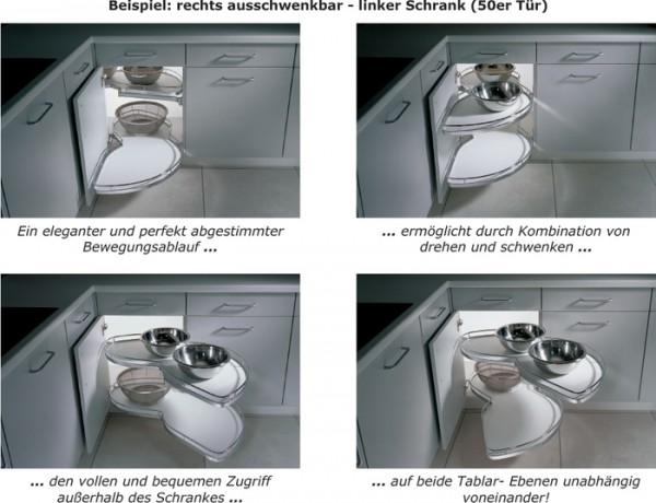 LeMansIl Eckschrank-Schwenkauszug, neues Modell links ausschwenkbar, 50er Tür, höhenverstellbar