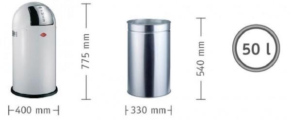 WESCO Abfallsammler Abfalleimer Mülleimer PUSHBOY LEMONYELLOW 50L,B 400mm, H 755mm