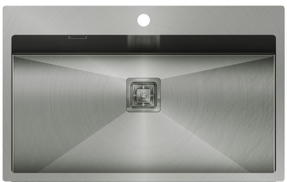 Edelstahl- Einbauspüle 790x510x200 in silber-grau