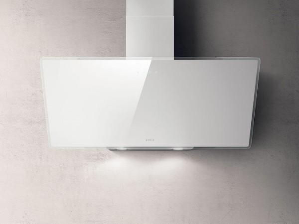 Kopffreihaube 90 cm breit, Weises Glas incl. Aluminiumfilter