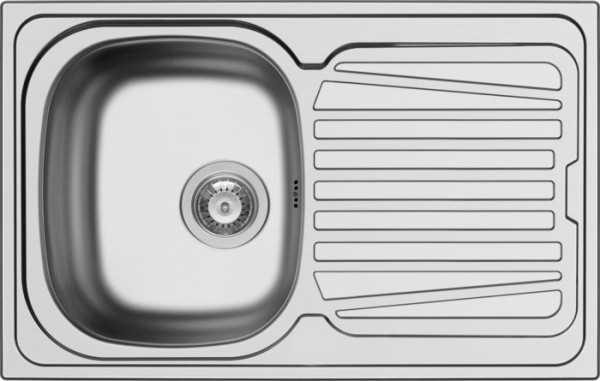 Edelstahlspüle ohne Hahnloch inkl. AÜG mit Siebkorbventil