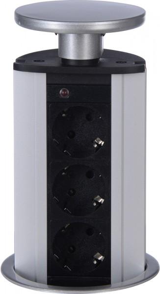 Power Port mit 3 Schutzkontaktsteckdosen Deckel silberfarben